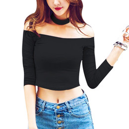 Wholesale New Summer Ladies Halter Top Off Shoulder Shirt Slash Neck White Pink Black Crop Top Sexy T Shirts for Women Solid Color Cropped