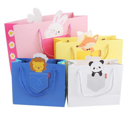 Wholesale Panda steam white stars blue pink frangipani lion ball bunny carrot yellow fox pattern square bottom paper gift bags