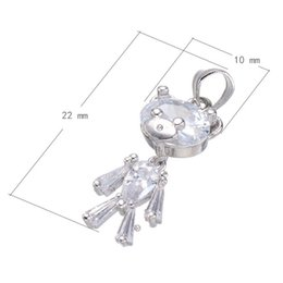 Large Cubic Zirconia Bear Keychain Copper Jewelry Accessories Platinum Plated Nickel Lead & Cadmium Free 22x10mm Hole:About 3.3mm 10PCS Lot