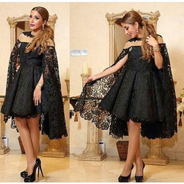 Sardi Arabia Black Lace Evening Dresses with Flying Lace Caplet 2016 Sexy Short Prom Dress Middle East Style