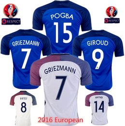 Wholesale Top thai quality EURO Francia GRIEZMANN PAYET POGBA GIROUD football Shirts Frances soccer jerseys French maillot Player Version
