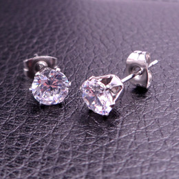 Wholesale Cool Stainless steel Silver Round Cut Clear Cubic Zirconia Stud Earrings New 6mm