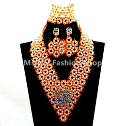 2019 high quality Wedding Coral Glass Seed Beads Costume African Jewelry Set Cream Crystal Beaded Statement Necklace Set Free Shipping
