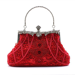 Women Clutch Evening Bags Vintage Shoulder Bags Beading Banquet Bag Tote Handbags for Wedding Party Dinner