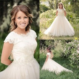 Wholesale 2016 Lace Modest Country Wedding Dress With Illusion Scoop Neckline Cap Sleeve Beaded Crystal Tulle A line Bridal Gowns Covered Buttons Bac