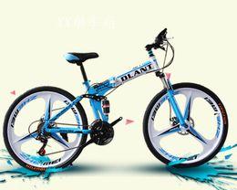 Wholesale DLANT Land Rover Inch Speed Folding Bikes Mountain Bike Three Spokes Double Damping Double Disc Brake Red Blue