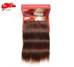 "Human hair brown color #4 , 16"" 18"" 20"" mix size 3pcs lot, European Straight brown weave color hair bundles"