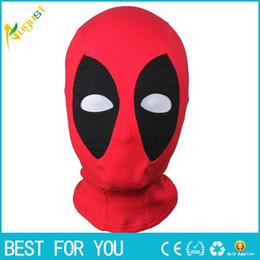 Traje de cuero completo en Línea-Máscara del nuevo cuero de la PU caliente Deadpool Máscaras de Halloween del super héroe del pasamontañas X-men camionero Sombrero del partido del traje de Cosplay Flecha cuello de la capilla de la cara llena