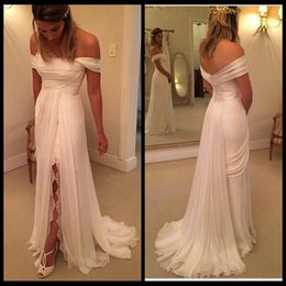 White Beach Wedding Dresses 2016 Off The Shoulder A Line Chiffon Ruffles Boho Bridal Dress Lace Bohemian Wedding Gowns with Split