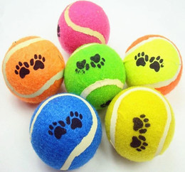 Wholesale 10pcs cm footprints tennis dogs special toy rubber ball resistant to biting bouncing ball training outdoor throwing game pet supplie