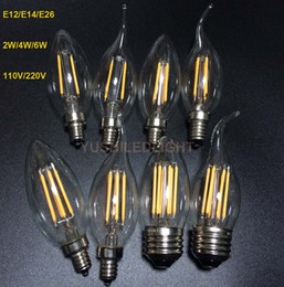 Wholesale 6Pcs E12 E14 E26 Dimmable W Vintage LED Filament Candelabra Bulbs lm w K V V C35 Bullet Top C35T Bent Tip CE UL Approval