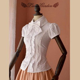 newest white ruffle puff sleeve short-sleeve cotton shirt Blouses