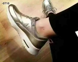 Wholesale 2016 Sliver Sneaker For Female Skate Shoes Air Max Thea Metallic Couple Outdoor Jogging Cool Mens Sneaker Max Brand
