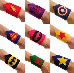 Wholesale Kids Superhero Arm Bands Wrist Band Superman Batman Wrist Cuffs Spiderman Flash Tmnt Costume Handguard Avengers Cosplay Wrist KKA718
