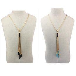 Promotion boîtes à bijoux dames Womens Fashion Box Chain Collier Turquoise Tassel Pendentif Charms Mesdames Bijoux