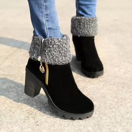 Wholesale 2016 New Fashion Women Warm Snow Boots winter women riding boots female high heels thick heel women s boots zipper high boots