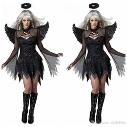 Wholesale Halloween Role playing Demons Apparel Women Black Movie Sexy Role Playing Costumes Dress Headwear Wings Witch Cosplay Apparels