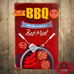 Wholesale quot BBQ Best Meat quot Metal Tin signs Diner Restaurant Bar Poster iron Paintings Wall Plaque
