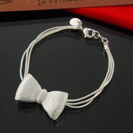 "Wholesale 925 Sterling Silver matt Bow Charm Bracelet 8"""