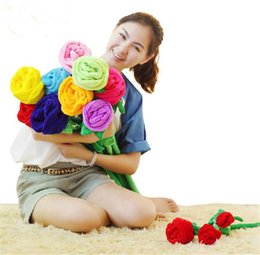 Wholesale cm Best Sale Lover s gift Plush toy Plants Colourful Rose flowers wedding for girls Curtain buckle Decorative