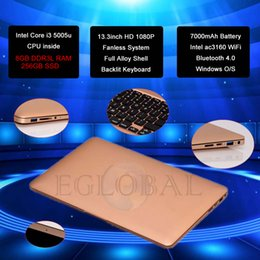 Wholesale 13 Inches Laptop Fanless Netbook with SD Card Reader USB p HD screen Laptop i3 U GB RAM GB SSD custom made LOGO