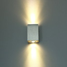 Wholesale 2W LED Wall Lamp Light Fixture Wall Sconce Porch Brushed Aluminum AC58 V for Bath Bedroom Living Room Hallway