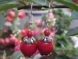 Pair 2PCS Asian Red Coral Beads Drop Earrings