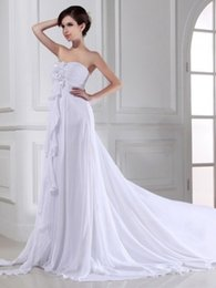 Wholesale Simply Sweetheart Hand Made Flowers Tiered Chiffon Empire Cheap Bandage Beach Wedding Dresses Summer Hot Sell
