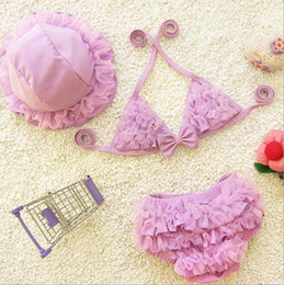 3pcs set Kids Princess 2 Piece Swimsuit Cute Baby Girls Swimwear Bikini Children Beach Swimming Clothing Costumes with cap and pants