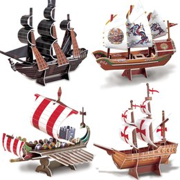 Wholesale D Puzzle model Ship Black Pearl Roman warship Santa Maria Model Jigsaw puzzle for children adult Educational Toys