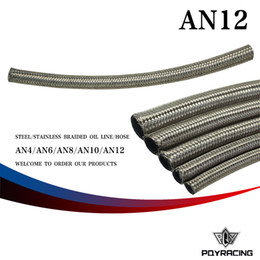 Wholesale PQY RACING AN12 AN AN MM quot ID STAINLESS STEEL BRAIDED FUEL OIL WATER HOSE ONE FEET M PQY7115