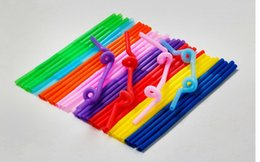 Wholesale Colored plastic straws plastic arts straw straw juice drinks straws elbow length dress