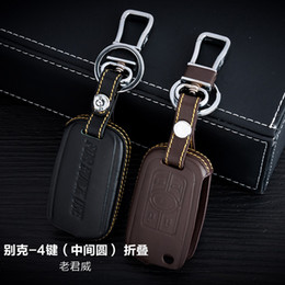 100% Genuine Leather Car Key Case Cover 4 Buttons Folding For Buick Old Regal Car Key Holder Bag Car Key Accessorie