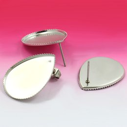 18x25mm Blank Earrings Settings teardrop bezel Cabochon bases SUS304 stainless steel stud Earrings post Findings DIY Crafts