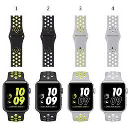 Wholesale Official Colors Sport Silicone Watchbands For iwatch Band mm mm Wrist Strap Bracelet With Adapter For Nikes For Apple Watch