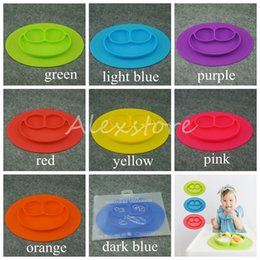 Wholesale Happy Mat Silicone Children Kid Silicon Bowl Tableware One piece Placemat with Plate Baby Feeding Learning Cups Dishes Set Colors DHL
