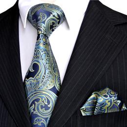 E7 Mens Necktie Handkerchief Floral Navy Blue Azure Yellow Ties Set 100% Silk Exquisite Brand New Free Shipping