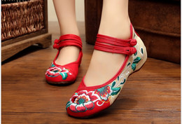 Fashion Women Shoes, Old Beijing Mary Jane Flats With Casual Shoes, Chinese Style Embroidered Cloth shoes woman Plus Size 41