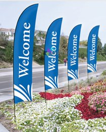 3.6m tall Custom printing Feather Flags, Logo Flag, Outdoor Advertising Display Beach Banner Flag, Print one side 4pcs Lot.