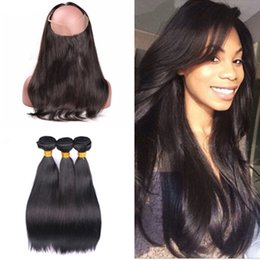 Wholesale 9A Lace Frontal Closure With Bundles Brazilian Virgin Human Hair Silky Straight Weave With Full Frontal Band Natural Hairline
