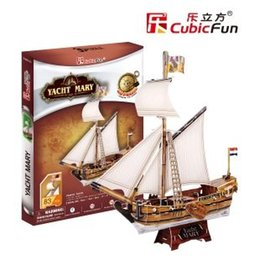 Wholesale CubicFun D puzzle paper model child gift DIY toy T4010H YACHT MARY boat santa maria easy assemble educational creat decoration