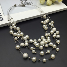 2016 Fashion Design Gorgeous Multi Layer Pearl Beads Charms Necklace for girl Necklace Women Statement Necklace Jewelry