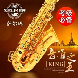 Wholesale Clean Sax - Wholesale-Saxophone Sax Eb Be Alto E Flat Brass Carved Pattern Plastic Mouthpiece with Gloves Cleaning Cloth Brush Straps