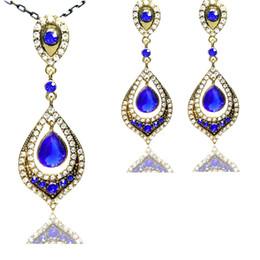 Wholesale Vintage Costume Royal Blue Drop Dubai Jewellery Sets Gold Tone Micro Pave Crystal Open Back Antique Chain Necklace Earrings Set
