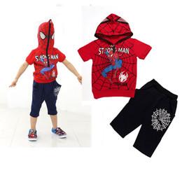2017 spiderman ensembles de vêtements d'été DHL 5 styles d'été Spiderman tenues bébé Garçons Vêtements Sets Set Enfants Sport Costume enfants à manches courtes Hoodie Top + Pantalon court 2-7T E9 bon marché spiderman ensembles de vêtements d'été