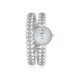 Wholesale Gold Bracelet Watches for Women Diamond bezel Beaded Casual Watches for Lady Fashion Elegant Luxury Brand High Quality