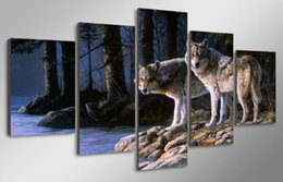 HD Printed Animal two wolves Painting Canvas Print room decor print poster picture canvas Free shipping  PT0210