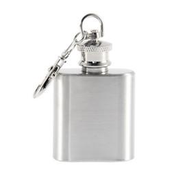 2017 alcool trousseau Vente en gros-Portable 1 oz Hip Mini Flacon en acier inoxydable Alcool Flagon avec porte-clés Brand New alcool trousseau sortie