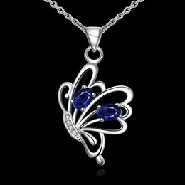 New arrival fashion flower shape 925 silver Pendant Necklaces STPN079A, best gift blue gemstone sterling silver jewelry necklace