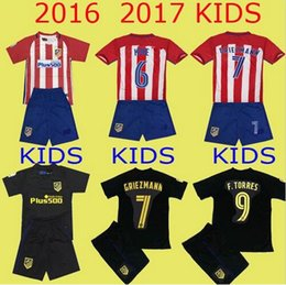 Wholesale Atletico Madrid Kids Jersey GRIEZMANN home away F TORRES thai quality Atletico Madrid childrens football shirt soccer jersey